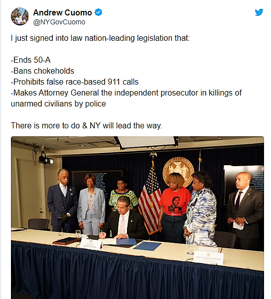 New york : CHOKEHOLDS NOW ILLEGAL ' AS Andrew Cuomo SIGNS 10 NEW REFORM BILLS.