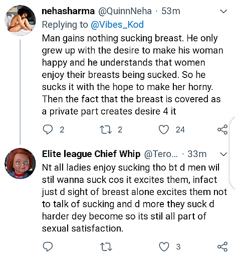 WHAT DO MEN REALLY GAIN FROM SUCKING BOOBS ???- See Twitter Users Response.