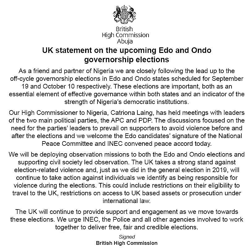 Edo 2020 : UK To SANCTION SPONSORS OF VIOLENCE.