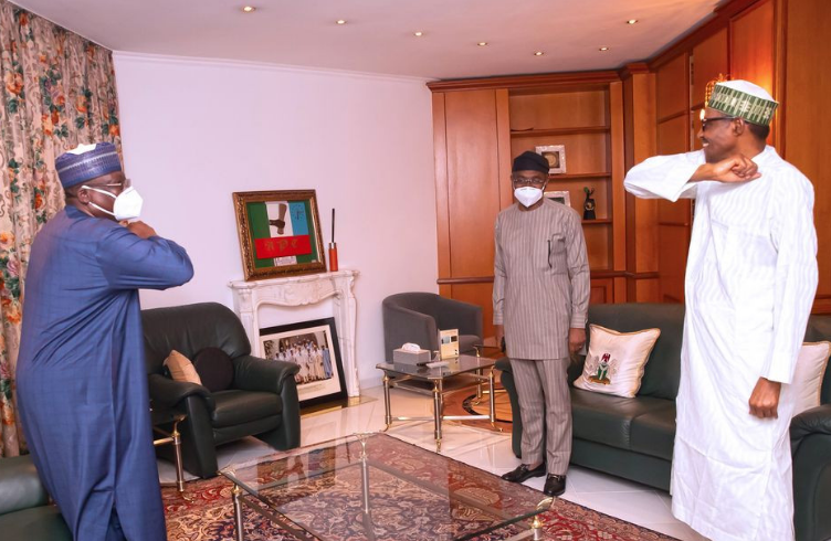 #EndSARS : President Buhari Meets With NATIONAL ASSEMBLY LEADERS .